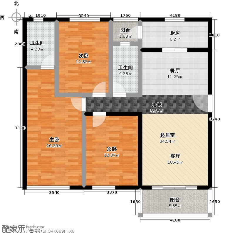 祈福新村111.71㎡24栋3/F-01户型3室2卫1厨