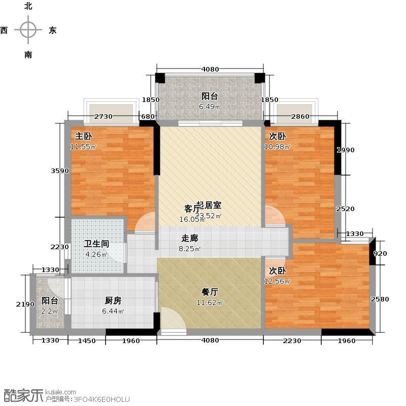 优山美墅103.85㎡E2幢2-18层03户型3室1卫1厨