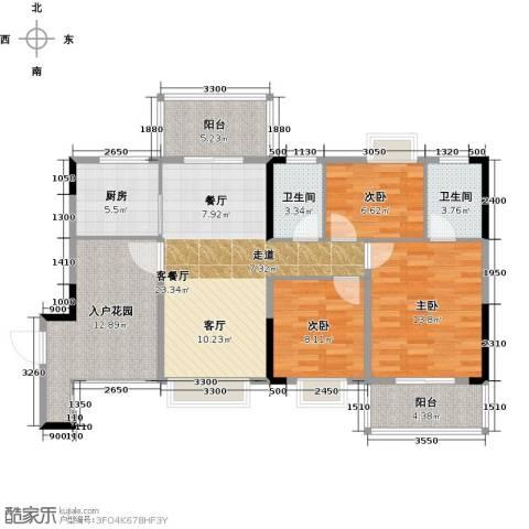 富豪山庄3室1厅2卫1厨102.00㎡户型图