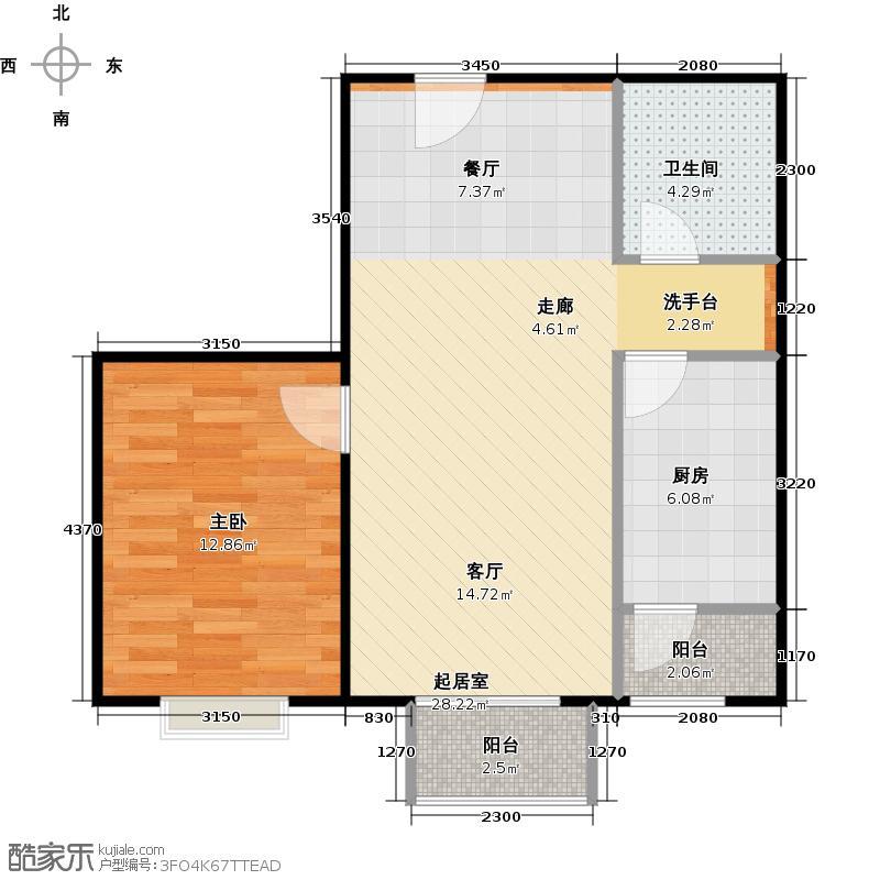 瑞雪春堂70.23㎡26号楼A13户型1室1卫1厨