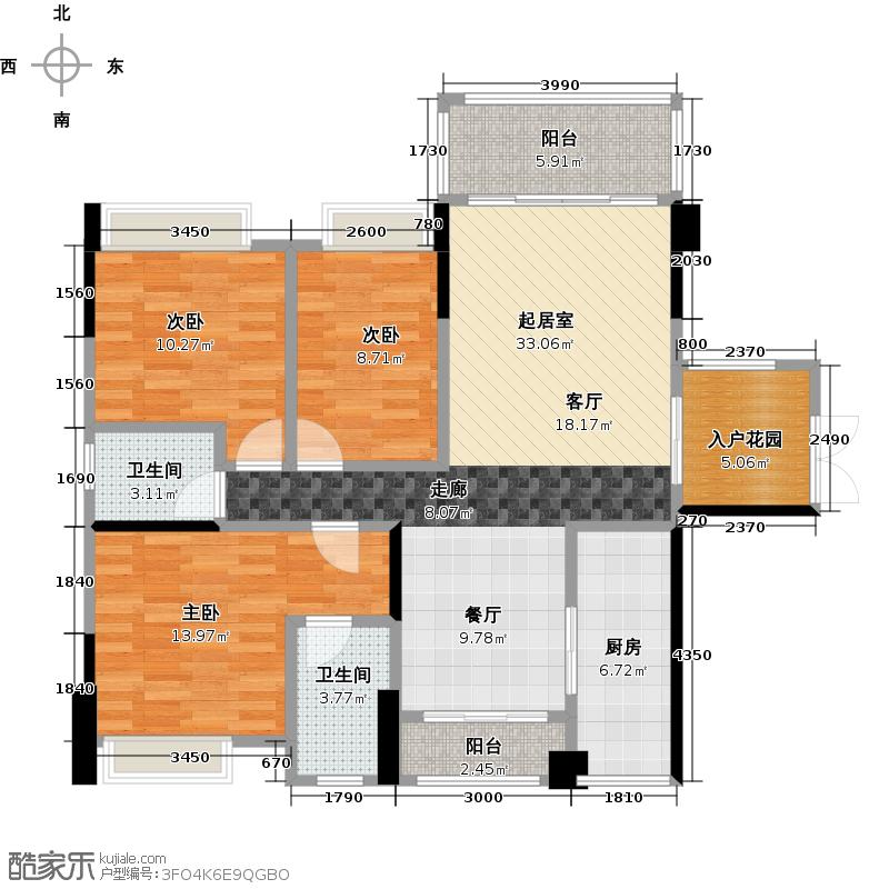 盈拓郦苑105.57㎡8栋1单元02、03户型3室2卫1厨
