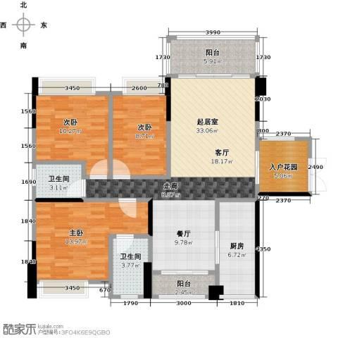 盈拓郦苑3室0厅2卫1厨132.00㎡户型图