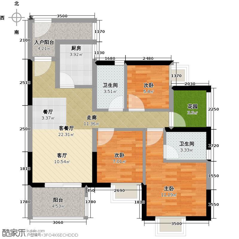 中惠香樟绿洲66.25㎡49、50栋标准层01、06户型3室1厅2卫1厨