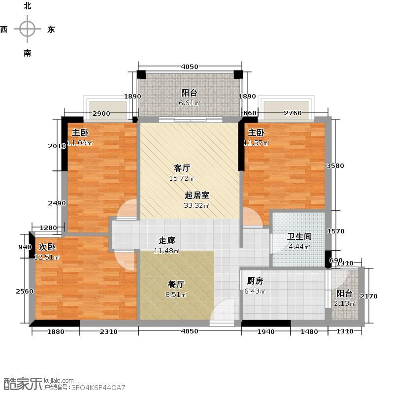 优山美墅103.85㎡E3幢2-18层03户型3室1卫1厨
