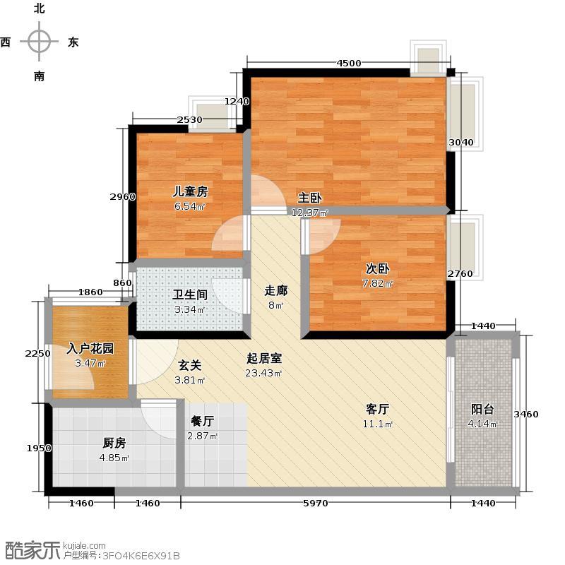 尚东紫御89.00㎡禧园标准层01户型3室1卫1厨