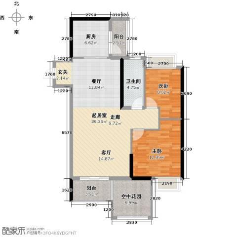 碧水云天二期中央公馆2室0厅1卫1厨99.00㎡户型图