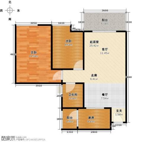 居益凯景中央2室0厅1卫1厨74.00㎡户型图