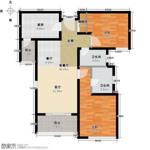 柏丽华庭2室1厅2卫1厨111.00㎡户型图
