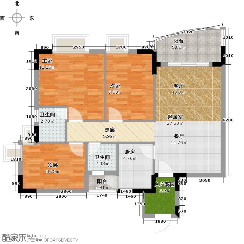 三正世纪豪庭88.29㎡户型3室2卫1厨