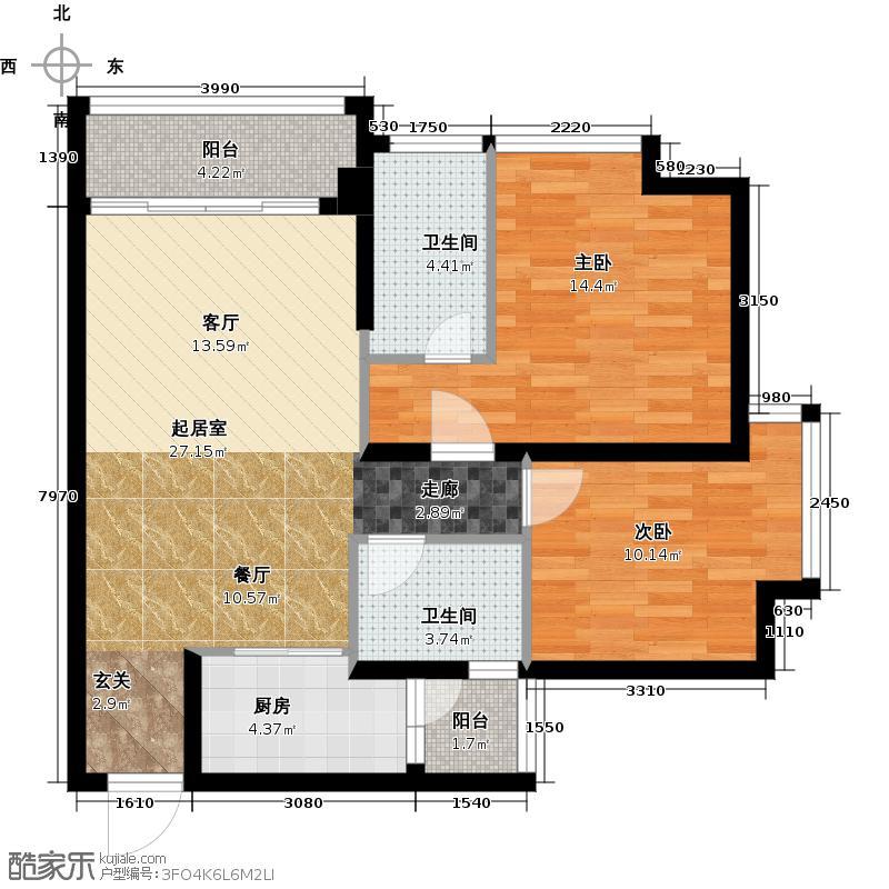 假日花园89.97㎡7号2栋户型2室2卫1厨