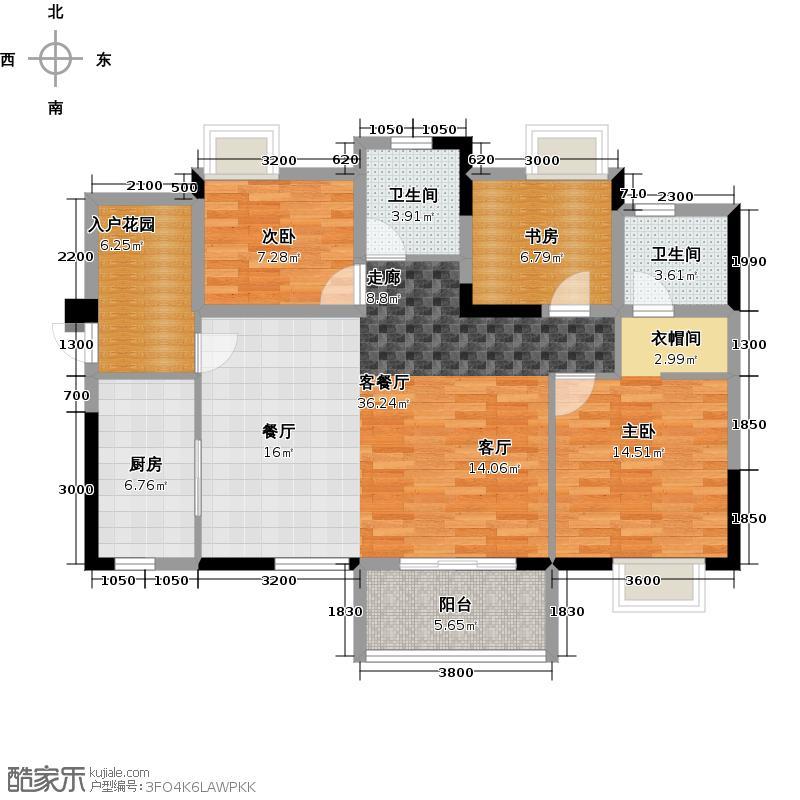 仙桃福星城103.34㎡未命名户型3室1厅2卫1厨