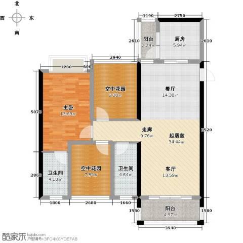 碧水云天二期中央公馆1室0厅2卫1厨106.00㎡户型图