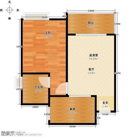 居益凯景中央1室0厅1卫1厨46.00㎡户型图