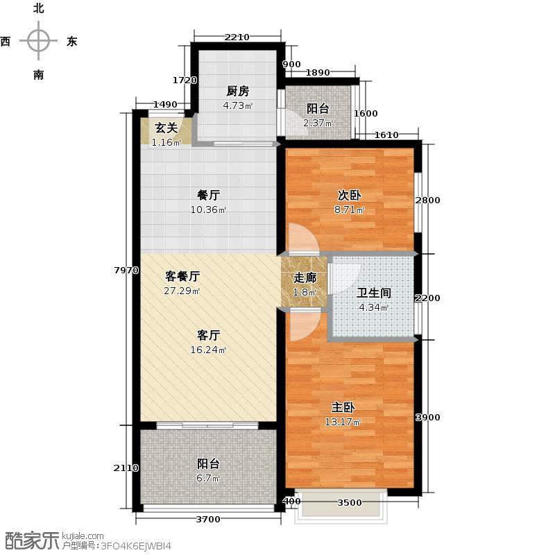 恒大海上夏威夷89.43㎡40号楼04户型2室1厅1卫1厨