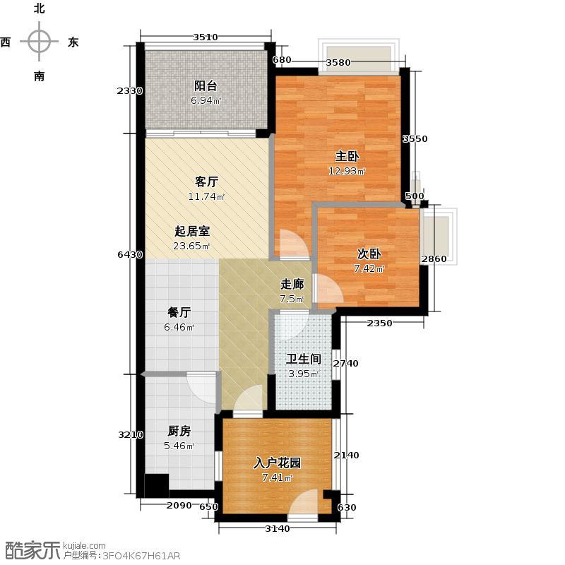 御华园80.00㎡9座3层05户型2室1卫1厨