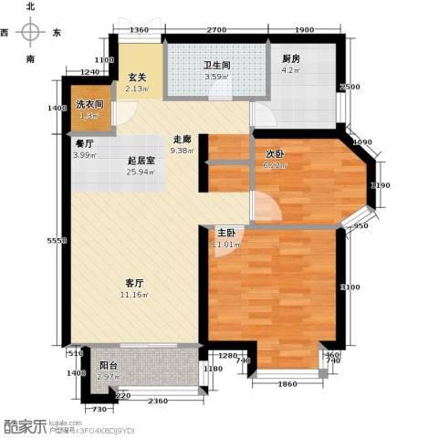 首开・国风美仑2室0厅1卫1厨78.00㎡户型图