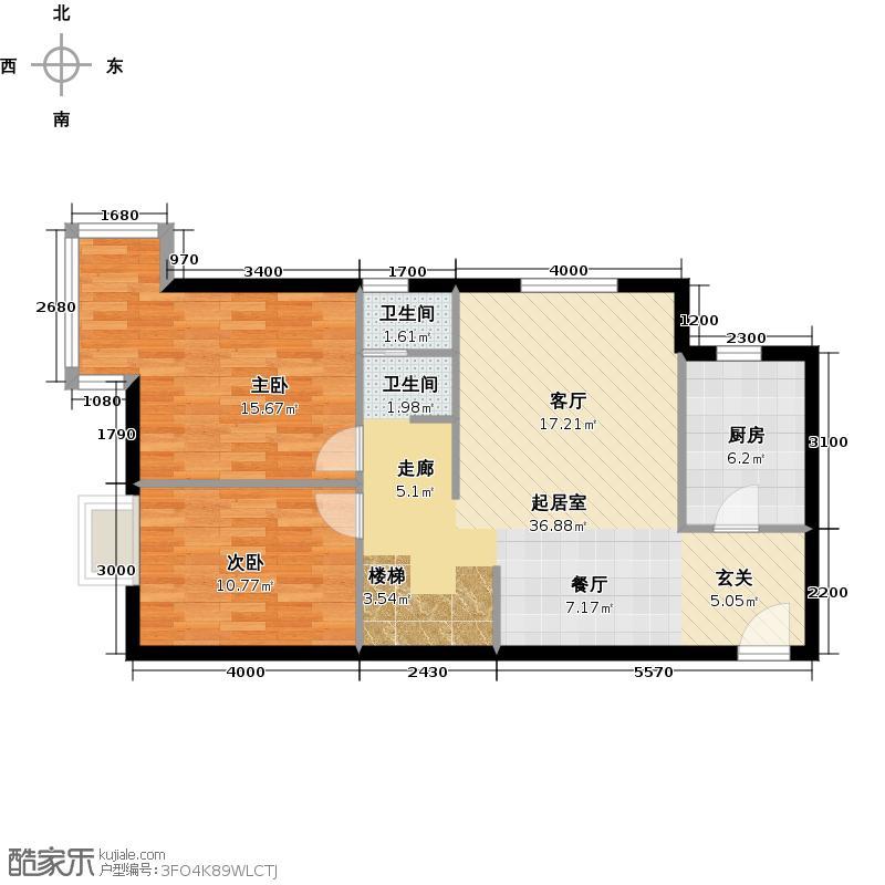美立方99.00㎡loftL4B二层户型2室1卫1厨