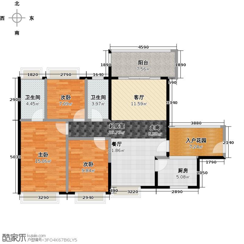 珠光南沙御景109.45㎡1、2、3栋03单元户型3室2卫1厨