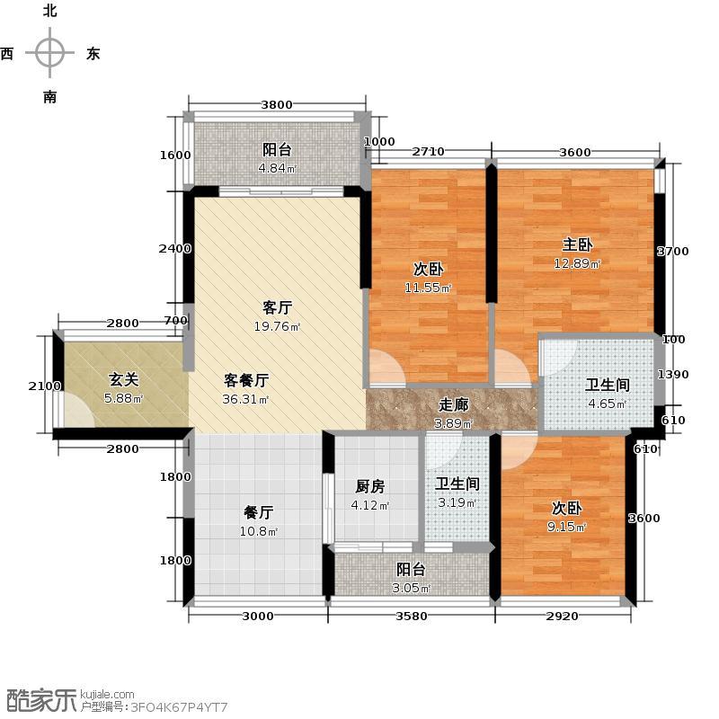 怡安皇庭99.00㎡A户型3室1厅2卫1厨