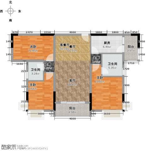 宇丰名苑3室1厅2卫1厨112.00㎡户型图