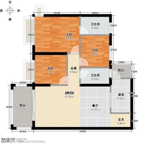 景新国际名城3室0厅2卫1厨107.00㎡户型图