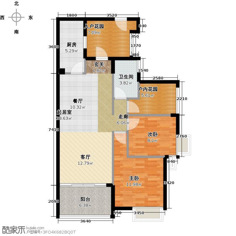 御华园90.00㎡9座4~28层偶数层01户型2室1卫1厨