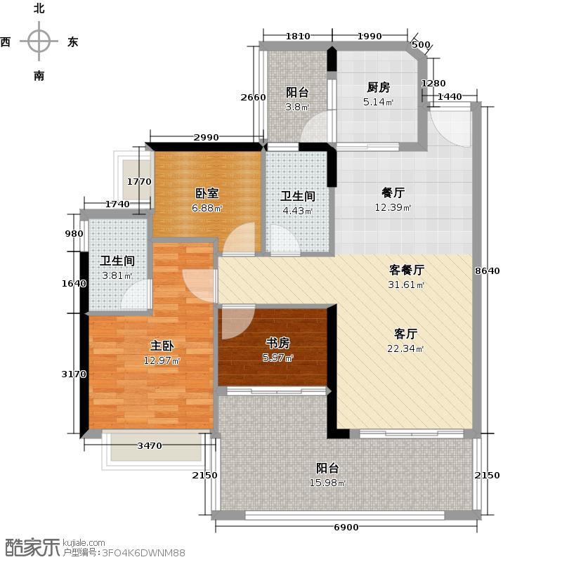 可逸家园102.91㎡4栋2层02单位户型2室1厅2卫1厨