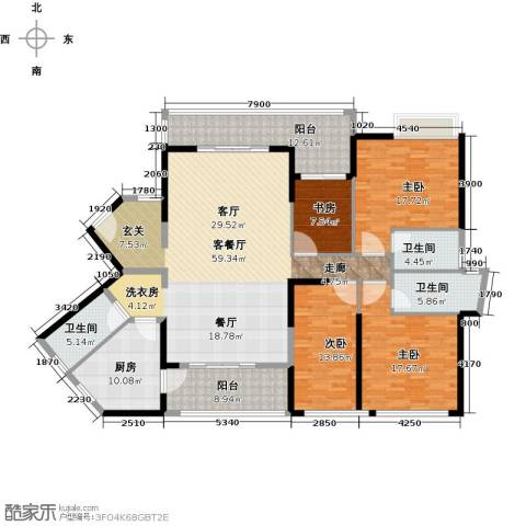 怡安皇庭4室1厅3卫1厨183.00㎡户型图
