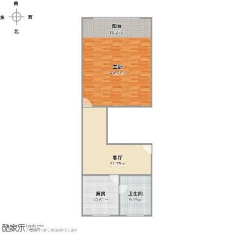 齐一小区1室1厅1卫1厨90.81㎡户型图