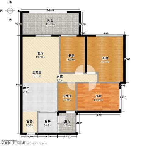 雅居乐剑桥郡3室0厅1卫1厨103.00㎡户型图