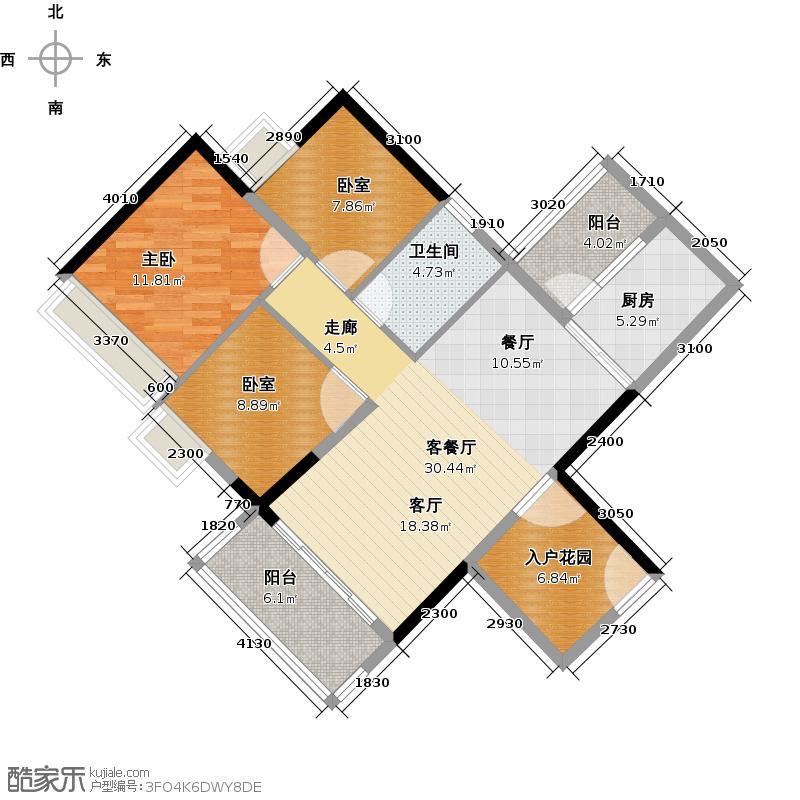 可逸家园98.12㎡4栋2层03单位户型1室1厅1卫1厨