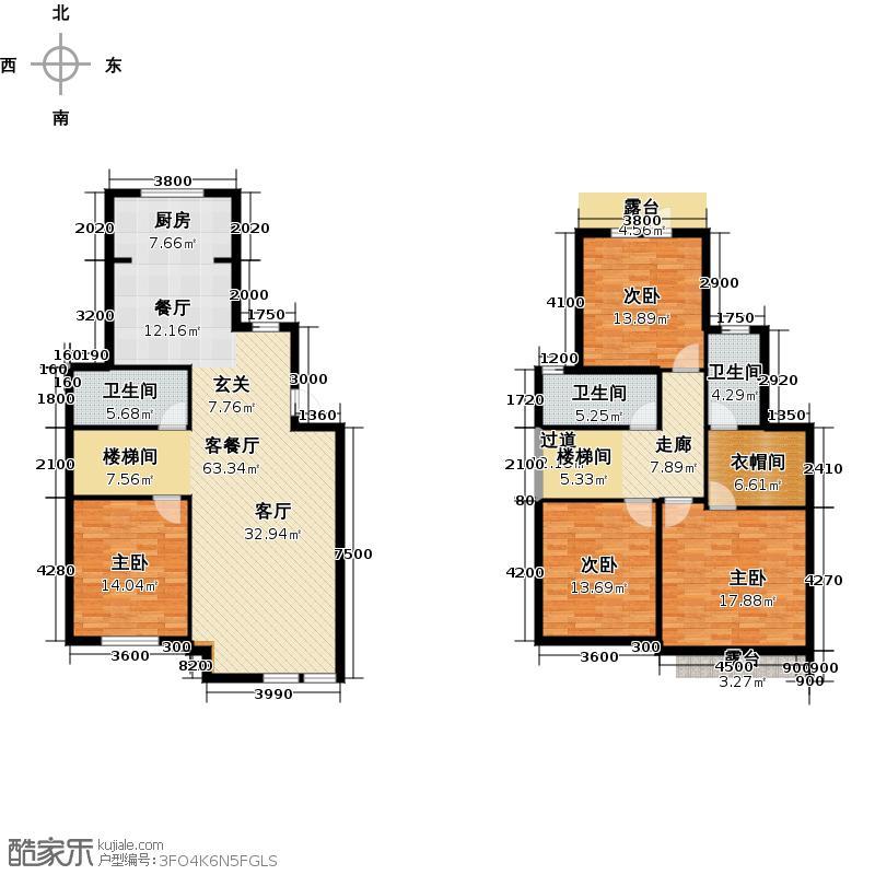 凯旋国际188.00㎡叠排F户型4室1厅3卫