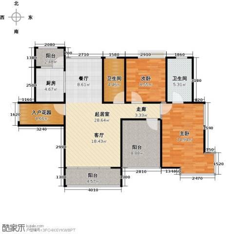 香樟1号2室0厅2卫1厨118.00㎡户型图