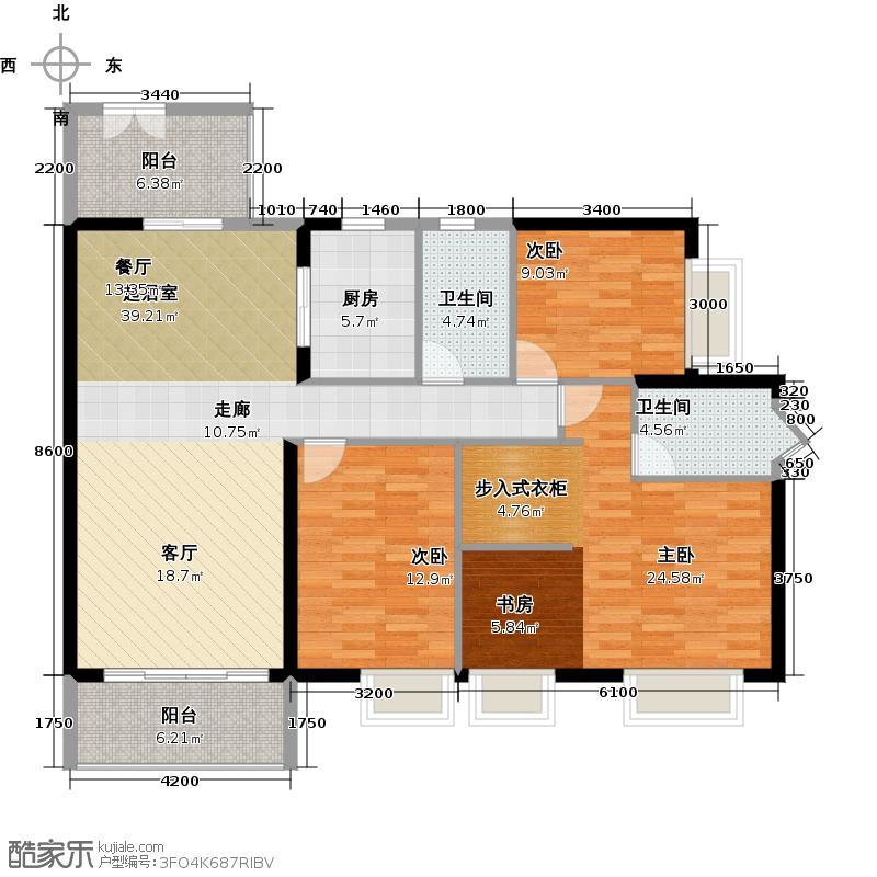 金沙御苑138.42㎡4栋01单元户型3室2卫1厨