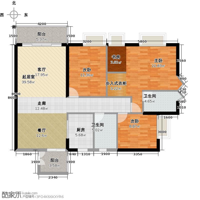 金沙御苑140.09㎡3栋04单元户型3室2卫1厨