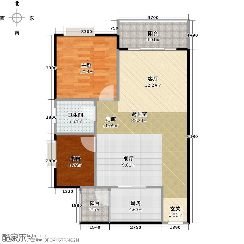 东凌广场75.00㎡B2栋03单元户型2室1卫1厨
