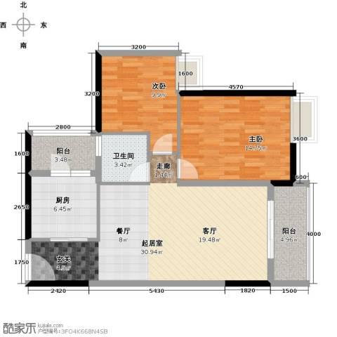 兰亭熙园2室0厅1卫1厨83.00㎡户型图