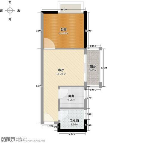 中海橡园国际1厅1卫1厨45.00㎡户型图
