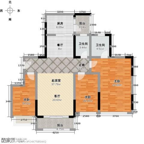 敏捷・金月湾3室0厅2卫1厨126.00㎡户型图