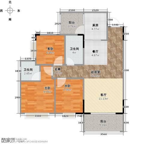 翠景湾3室0厅2卫1厨77.18㎡户型图