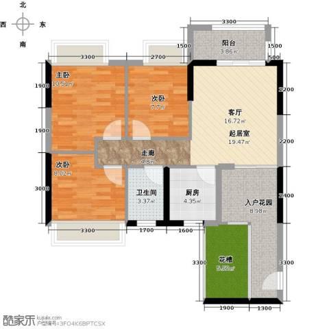 星星华园国际3室0厅1卫1厨85.00㎡户型图