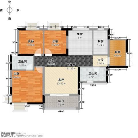 新彼岸3室1厅2卫1厨120.00㎡户型图