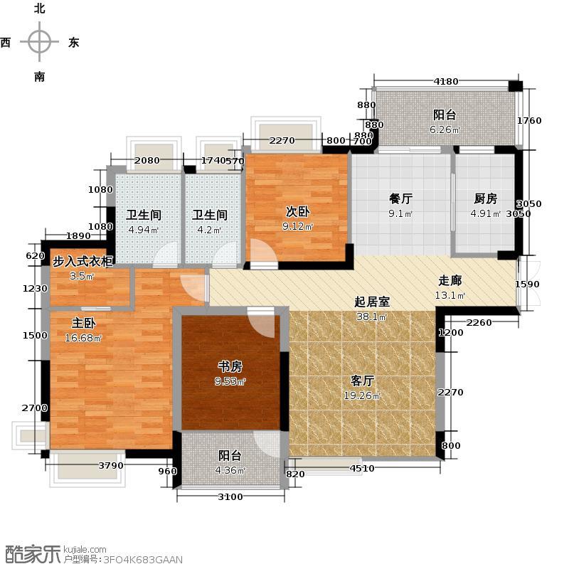 江南第一城114.15㎡户型3室2卫1厨