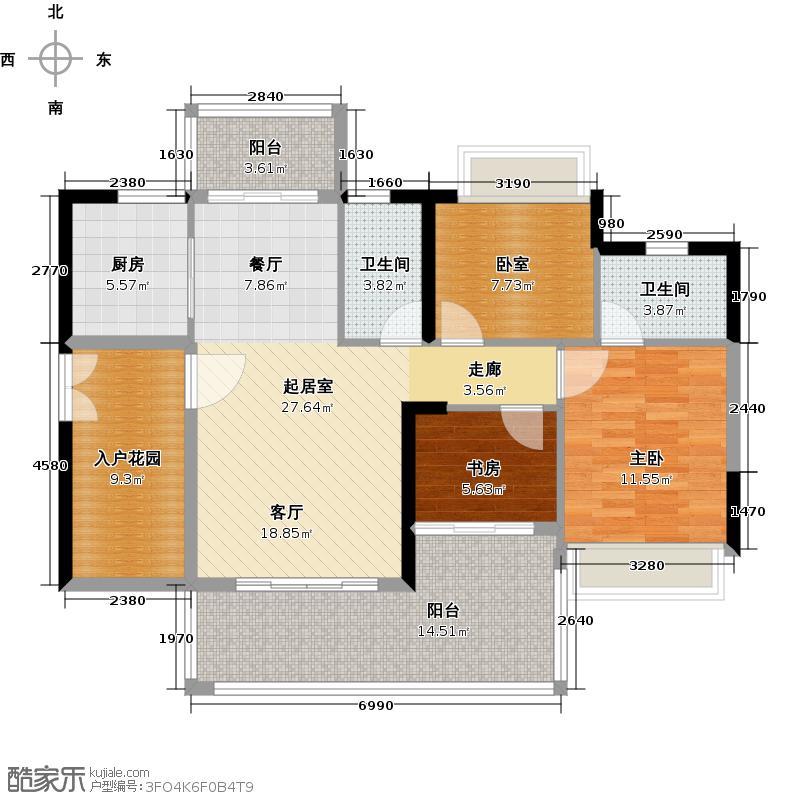 可逸家园106.65㎡4栋2层05单位户型2室2卫1厨