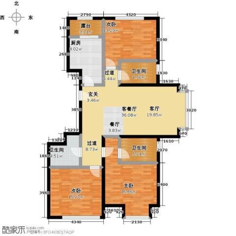 融科钧廷二期3室1厅3卫1厨123.00㎡户型图