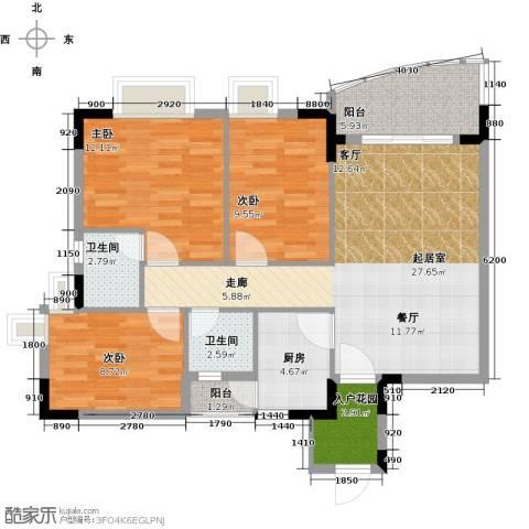 三正世纪豪庭3室0厅2卫1厨111.00㎡户型图