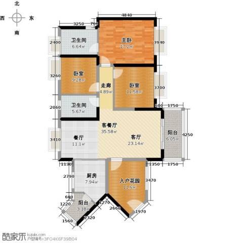 中海橡园国际1室1厅2卫1厨130.00㎡户型图