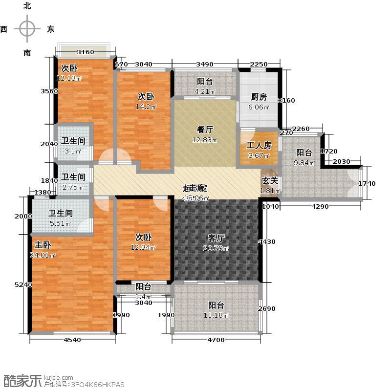 星晨时代豪庭179.85㎡9座5层03单位户型4室3卫1厨