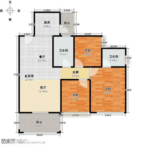 东港华府3室0厅2卫1厨97.00㎡户型图