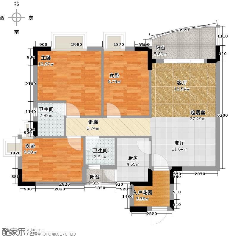 三正世纪豪庭89.54㎡户型3室2卫1厨